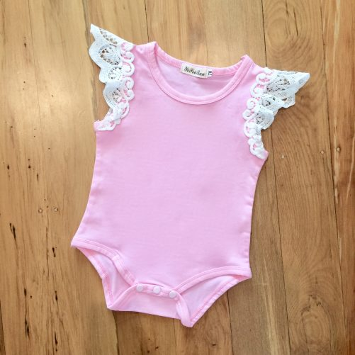 lace sleeve pink bodysuit