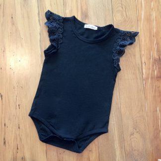 Lace shoulder black bodysuit