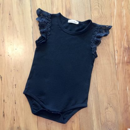Lace shoulder black bodysuit