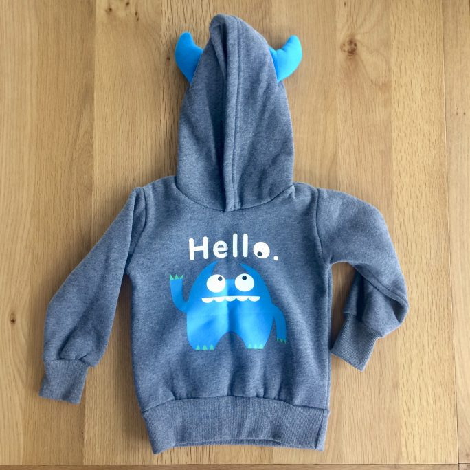 blue monster toddler hoodie