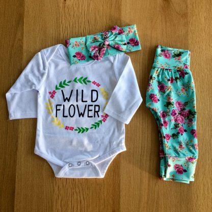 Wild Flower Baby Bodysuit and Pants Set