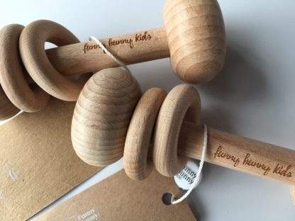 beechwood wooden rattle